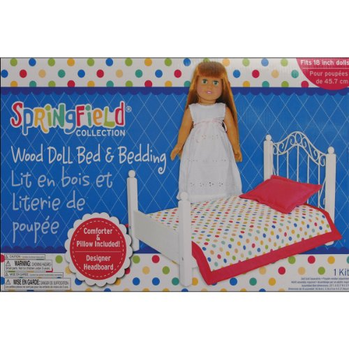 Fiber Craft Springfield Collection Bed/Bedding For Doll, 20 By 10.5 By 11-Inch, White front-77030