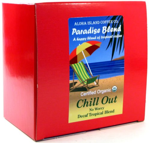 Chill Out, Water Process Decaf, Certified Organic Coffee Pods, Box of 36 Pods, From Aloha Island Coffee
