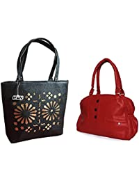 HnH Women HandBag Combo - Elegant Red + Blossom Black