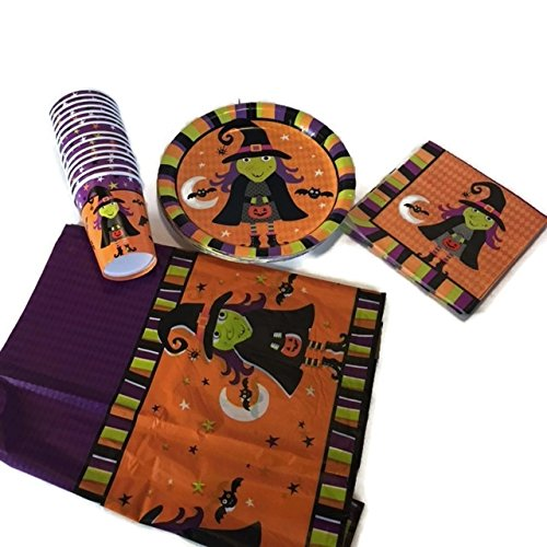 Halloween-Theme-Spooky-witch-brew-party-supplies-bundle-for-14-people-The-scary-witch-set-includes-18-paper-plates-14-paper-cups-18-Paper-Napkins-Rectangle-Plastic-Table-cover