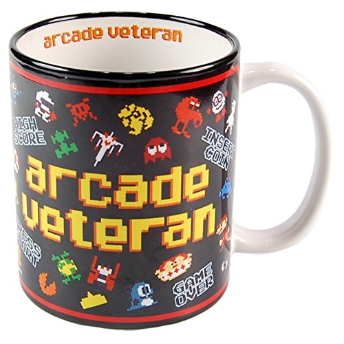 Arcade Veteran Retro Gamer Mug. Ideal for 8-bit gamers who played the 80s classics.