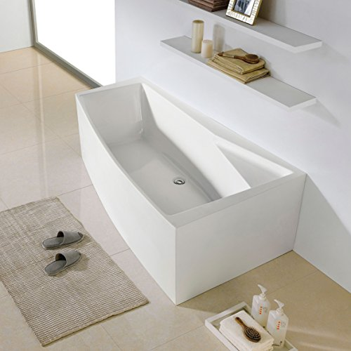 MAYKKE Encino 70 Inches Modern Rectangle Acrylic Bathtub Freestanding White Tub in Bathroom, 13-7/16 Inches Water Depth, XDA1430001 (Soaker Tub Drain Kits compare prices)