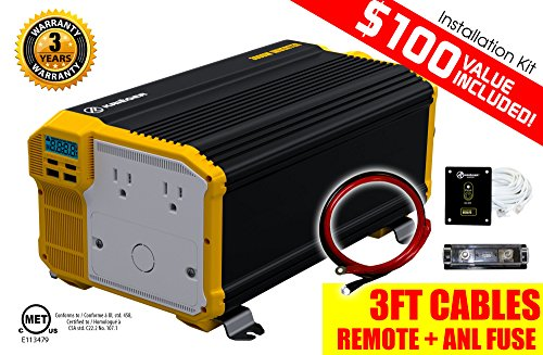 KRIËGER 3000 Watt 12V Power Inverter, Dual 110V AC outlets, Automotive back up power supply for refrigerators, microwaves, coffee makers, Chainsaws, vacuums, power tools. MET approved to UL and CSA (12 Volt Ac Dc Microwave compare prices)