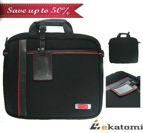 Travelling Briefcase Laptop Bag for 15.6 inch Sony VAIO VPC-EB33FX Notebook - Ebon & Red. Bonus Ekatomi Screen Cleaner Sticker