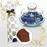 花とスイーツ のセット プリザーブドフラワー(ソープフラワー【ブルー】)&熟成ケーキ(母の日 スイーツ フラワーギフト 洋菓子 ギフトセット)