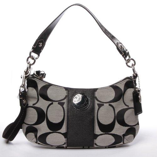 Coach Signature Stripe Demi Crossbody Handbag Bag Purse 19218 Black White
