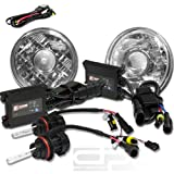 HL-R-7X7-P-CL+HIDDTH4HL6K+BLS, Two 7x7 H6017 Clear Housing Round Projector Headlight Glass Lens with 6000K Ice Blue White HID Xenon Gas H4 Low+High Beam Light and Slim AC Digital Ballast Replacement Conversion Kit
