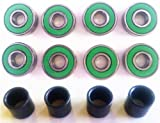 Brand New 8 pcs of Abec 7 Skateboard Bearings Set Color Green + 4pcs Spacers