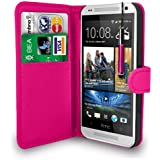 HTC ONE MINI HOT PINK LEATHER WALLET FLIP CASE COVER POUCH + FREE SCREEN PROTECTOR & RETRACTABLE TOUCH STYLUS PEN