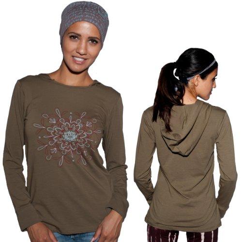 Silly Yogi Women'S Organic Cotton Lotus Yoga Hoodie/Top-Sage-S/M front-1005973