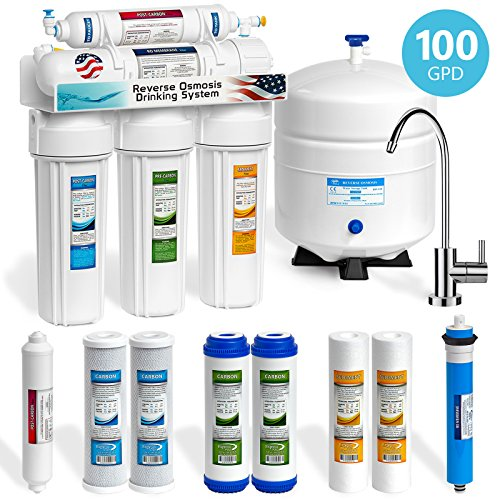 Express Water 5 Stage Home Drinking Reverse Osmosis System 100GPD MODERN Chrome Faucet PLUS Set of 4 Extra Filters (Drinking Water Filtration System compare prices)