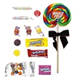 """4 in. Lollipop and Assorted Wrapped Candies - 4"""" x 4"""" Plastic Box - Jack-o-Lantern - Halloween Candy"""