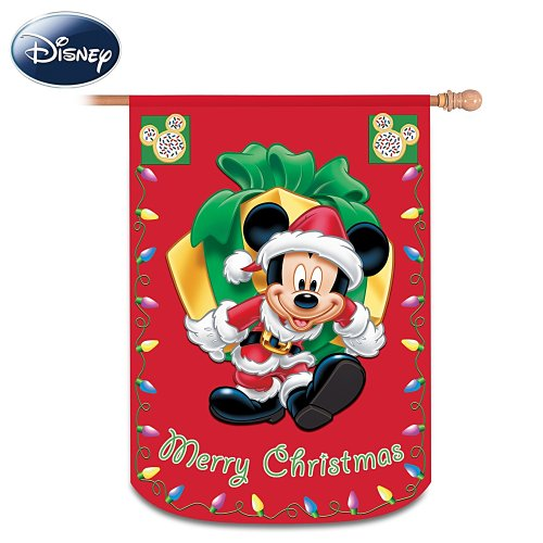 Mickey And Friends Merry Christmas Decorative Flag by The Hamilton Collection