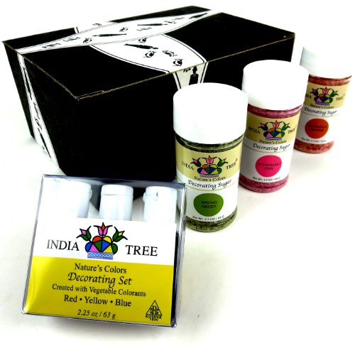 India Tree Nature'S Colors Decorating Kit: One 2.25 Oz Package Of India Tree Nature'S Colors Decorating Colors And One 3.3 Oz Bottle Each Of India Tree Nature'S Colors Strawberry Pink, Marigold Orange, And Spring Green Decorating Sugars In A Gift Box front-631842