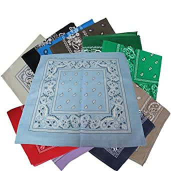 "PACK OF 12 BANDANAS 100% Cotton, Head Wrap 22"" x 22"" 12 DIFFERENT COLORS IN ONE PACK"