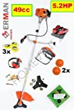Petrol Garden Grass Brush Cutter Trimmer Strimmer 49cc 5.2HP with 11pcs DELUXE KIT