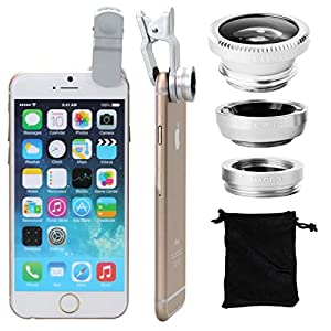 XCSOURCE® Universal Kit Objectif fish-eye à 180° + Objectif grand angle + Objectif Micro pour iPhone 6 Plus, 6, 4S 4 4G 5 5G 5S 5C 3GS Samsung GALAXY S2 I9100 S3 I9300 S4 I9500 S5 I9600 Note I9220 Note2 N7100 Note3 S3 mini i8190 S7562 HTC DC264S