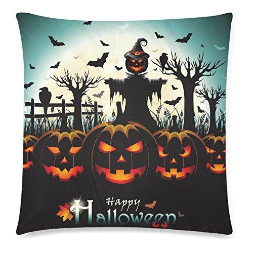 InterestPrint Happy Halloween Home Decor, Pumpkin Bat Bird Moon Night Pillowcase 18 x 18 Inches - Halloween Gift Pillow Cover Case Shams Decorative