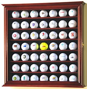 49 Golf Ball Display Case Cabinet Rack Stand Holder w  UV Protection -Cherry Finish by sfDisplay