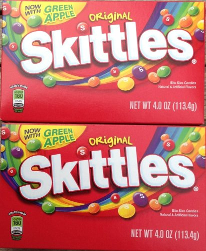 Skittles Original (Two X 4oz Theater Boxes) Now with Green Apple
