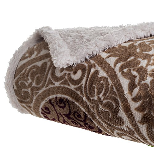 Bedford Home Printed Coral Soft Fleece Sherpa Throw Blanket, Brown