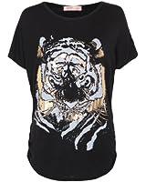 KRISP® Womens Oversized Tiger Print Tshirt Summer Batwing Tops