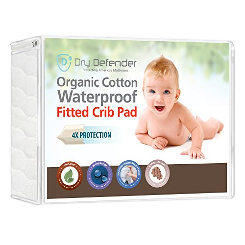 Organic Cotton Waterproof Fitted Crib Pad - Natural Baby Crib Mattress Cover & Protector - Unbleached, Non-Toxic & Hypoallergenic (Baby Mattress Pads compare prices)