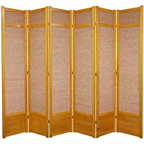 Hot Sale Oriental Furniture Large Folding Office Partition, 7-Feet Jute Fiber Asian Shoji Screen Room Divider, 6 Panel Honey