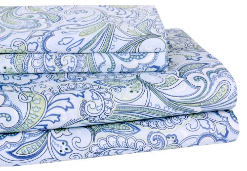 Elite Home 300 Thread Count Lindsey Paisley 100-Percent Cotton Sateen 4-Piece Sheet Set, Full, Blue