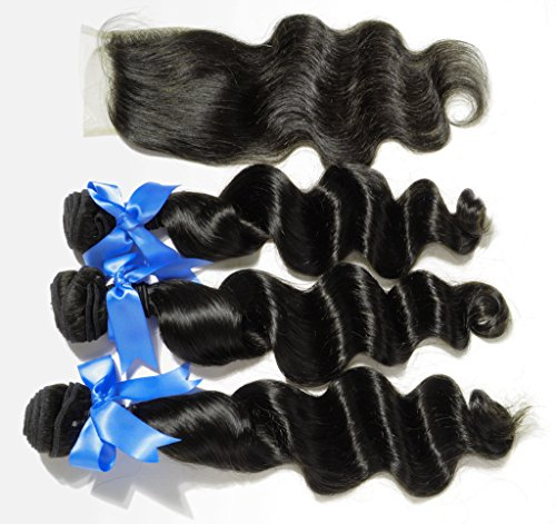 Danolsmann-Hair-Extensions-3-Bundles-Human-Hair-Extension-Loose-Wave-1-Lace-Closure-Free-Part-Curly-Virgin-Human-Weft-Weaving-Malaysia-Hair-Natural-Black-Color