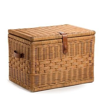 The Basket Lady Deep Wicker Storage Trunk   Wicker Storage Chest, L, Toasted Oat