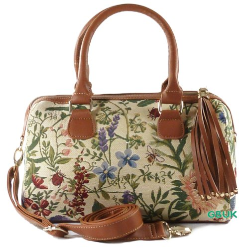 Tapestry Ladies Tassle HandBag & Cross body/Shoulder Bag (Wild Flower) - Gobelin Style