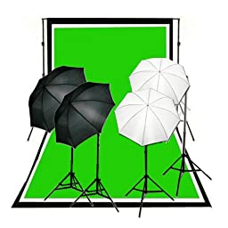 CowboyStudio Complete Photography and Video Studio 900 Watt Two Reflective Two Soft Umbrella Lighting Kits with 10\'x12\' Black White Chromakey Green 3 Muslin Backgrounds and Backdrop Support Stands