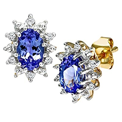 Ariel 9ct Yellow Gold Tanzanite and Diamond Cluster Earrings