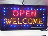 Super Bright Top Quality XL Colourful Flashing Open Welcome Shop Club, Pub, Animated LED neon display hanging sign 55cmx33cm by Fat-catz