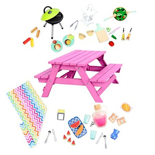 Our Generation Doll Picnic Table Set for 18