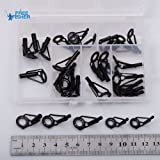 30 X Black Stainless Steel Fishing Rod Tips Guides Repair Kit