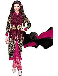 RADHEY ARTS PINK AND BLACK EMBROIDEREDSEMI STITCHED DRESS MATERIAL
