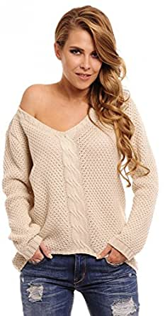 CAPRI MODA * Womens Chunky Cable Knit Jumper Pullover Sweater Top