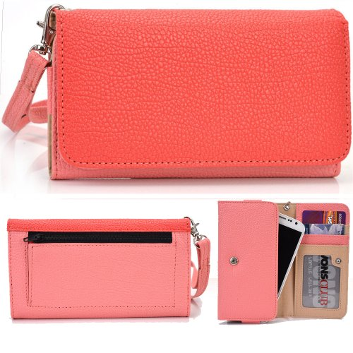 Exxist® Classic Metro Series. Faux Leather Clutch / Wallet For Archos 43 Internet (Color: Coral / Pink) -Esmlmtpc