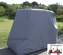 """Deluxe 4 Passenger Golf Cart Cover roof 80""""L Grey, Fits E Z GO, Club Car and Yamaha G model - Fits GEM e2"""