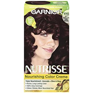 Garnier Nutrisse Haircolor, 415 Raspberry Truffle Soft Mahogany Dark Brown