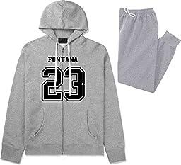 Sport Style Fontana 23 Team Jersey City California Sweat Suit Sweatpants XX-Large Grey