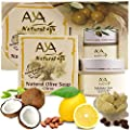 Extra Dry Itchy Cracked Skin Kit - 100% Natural Citrus Body Butter Moisturizer 1.7 oz & Skin Soap 3.4 oz - Shea, Cocoa, Coconut, Olive, Jojoba & Lemon Oils Blend Care Set