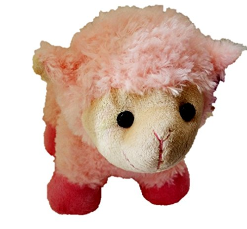 "1 Pc Unique 11"" Pink Loveable Cuddly Plush Animal Toy Lamb with Curly Soft Fur Unique 11"" Pink Cuddly Plush Animal Mother's Day Lamb with Curly Soft Fur"
