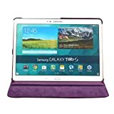 Boriyuan Ultra Slim Portable 360 Degree Rotating Protective Flip Folding PU Leather Carrying Case Cover with Elastic Hand Strap Multi-Angle View Stand Holder Feather for New 2014 Samsung Galaxy Tab S 10.5 inch T800 with a Free Stylus Touch Screen Pen (Purple)