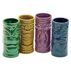 4 Tiki Tumblers Ceramic Hawaiian Luau Party Mugs Glasses by Accoutrements