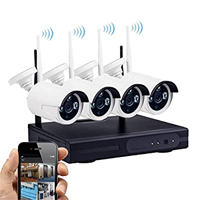 100'Night Vision,K9504L-W 720P HD Security System 4 IP cameras wireless,4CH WIFI 1080P HD NVR,Plug and play,Easy set up,Support iPhone,Android phone,4-way synchronous playback.NO Hard Disk.