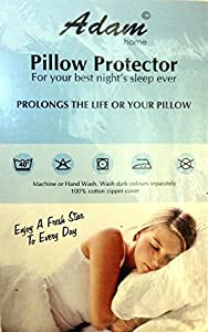 Pack of 4 Pillow Protectors with Zip -Liquid Resistant - Machine Washable - Anti-Allergy, Anti-Bacterial