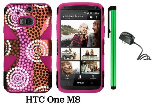 Htc One (M8) Dynamic Slim Hybrid Premium Pretty Design Protector Cover Case + Travel (Wall) Charger + 1 Of New Assorted Color Metal Stylus Touch Screen Pen (Colorful Ethnic Wave Plastic / Pink Silicone)